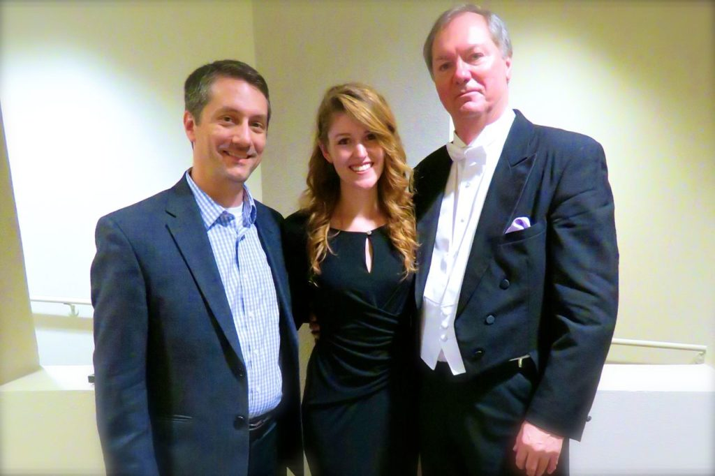 Jillian with two of her former conductors at the premiere of her work Coming Home