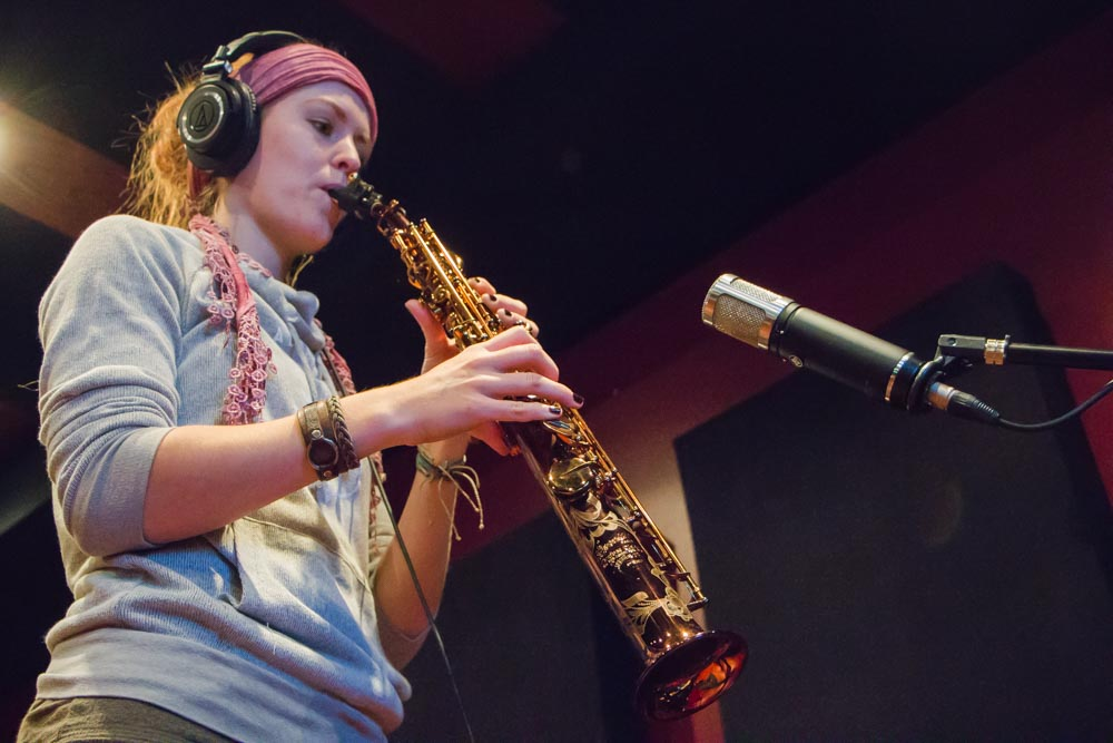 Jillian recording saxophone on her cue
